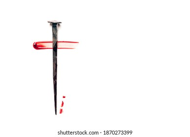 Christian cross made with rusty nails, drops of blood on white background. Copy space. Good Friday, Easter day. Christian backdrop. Biblical faith, gospel, salvation concept. Jesus Christ Crucifixion.