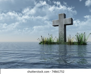 christian cross monument at the ocean - 3d illustration