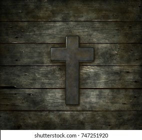 christian cross on old wooden plank