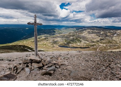 Christian cross on the way to the top of Gaustatoppen