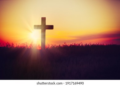 Christian cross outdoors at sunset. Crucifixion Of Jesus