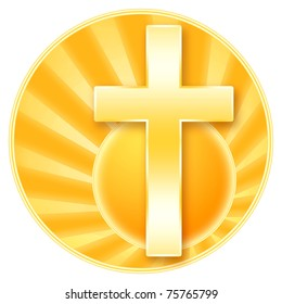 Christian cross and rising sun, golden illustration with isolated over white background