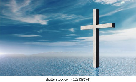 Christian Cross standing in Right side in the middle of a vast body of water, against a cloudy blue sky