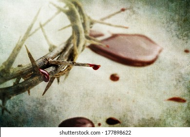 Christian crown of thorns like Christ wore with drops of blood over grunged background.