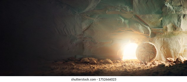 Christian Easter concept. Jesus Christ resurrection. Empty tomb of Jesus with light. Born to Die, Born to Rise.