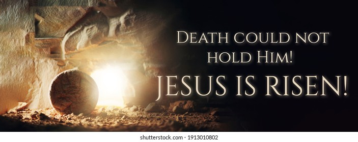 Christian Easter concept. Jesus Christ resurrection. Empty tomb of Jesus with light. Born to Die, Born to Rise. He is not here he is risen . Savior, Messiah, Redeemer, Gospel. Alive. Miracle. - Shutterstock ID 1913010802