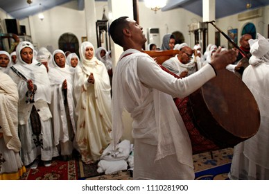 Christian Ethiopians take part in a midnight mass on the eve of Orthodox Christmas in Athens, Greece on January 6, 2015.