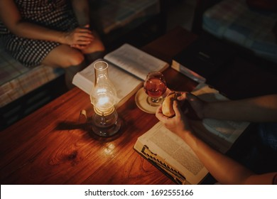Christian family worship God and do communion together at home  in Easter season while they can't meet in church because of corona virus or covid19  crisis