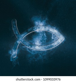 Christian fish symbol. Abstract night sky background.