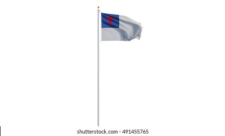 Christian flag waving on white background, long shot, isolated with clipping path mask alpha channel transparency