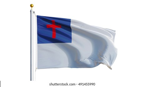 Christian flag waving on white background, close up, isolated with clipping path mask alpha channel transparency