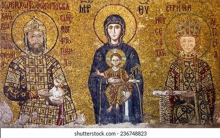 Christian Icon of Virgin Mary and Saints in Hagia Sophia in Istanbul, Turkey.