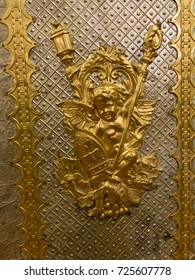 Christian icons on gold plate