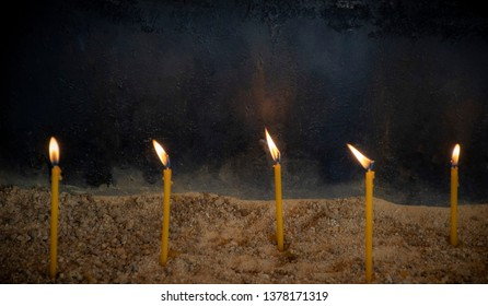 Christian Light Candles in Christian Church. Close up photograpy