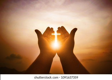 Christian man with open hands worship christian. Eucharist Therapy Bless God Helping Repent Catholic Easter Lent Mind Pray. Christian concept background.