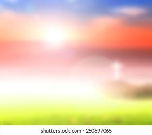 Christian religious concept: Blur white cross on sky sunrise background