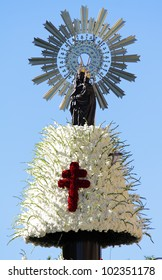 Christian religious sculptural details in virgin pillar zaragoza