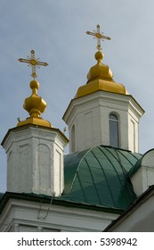 Christian temple with domes on a background of sky