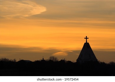 Christian temple at sunset