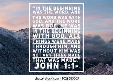 Christian verse in the Bible book of John mountain back from blues purples whites