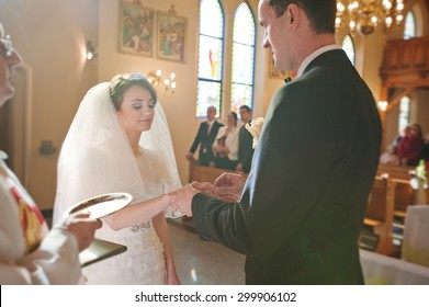 christian wedding couple at catholic church