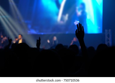 Christian worship god  with raised hand, Music concert, Praise and worship concept, spirituality and religion