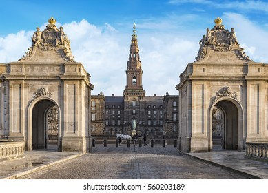 Christianborg palace Entrance view in Copenhagen, Denmark