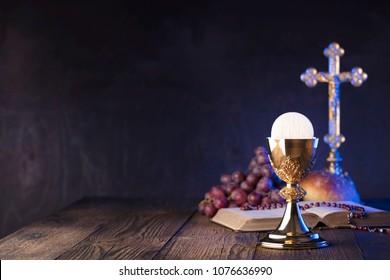 Christianity symbols composition. First Holy Communion. Religion theme.