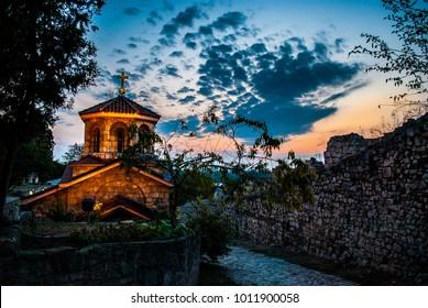 Christian/Orthodox Church of St. Petka at Kalemegdan sunset Belgrade Serbia