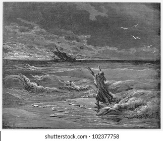 Christians leave Zoraida father on the coast - Picture from The History of Don Quixote book,  published in 1880, London - UK. Drawings by Gustave Dore.