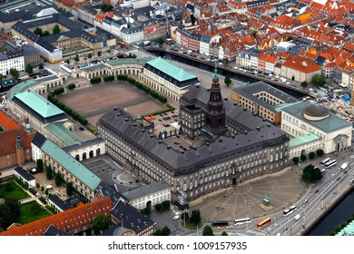 Christiansborg Palace - government building on the islet of Slotsholmen in central Copenhagen.