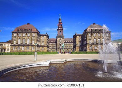 Christiansborg Palace in summer sunny day, Copenhagen, Denmark