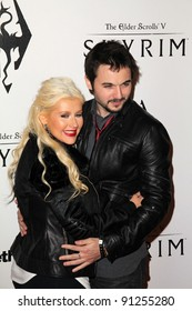 "Christina Aguilera, Matt Rutler at the ""Skyrim"" Official Launch Party, Belasco Theater, Los Angeles, CA 11-08-11"