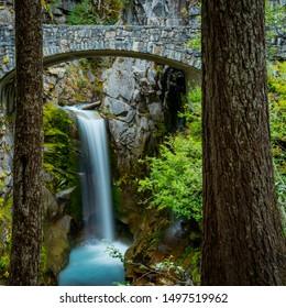 Christine Falls Between The Trees in Mt. Rainier