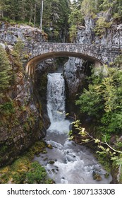Christine Falls in Mt Rainier National Park is a waterfall with a picturesque bridge