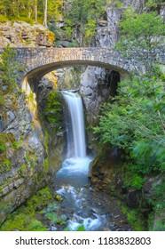 Christine falls and stone bridge