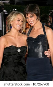 Christine Taylor and Katie Holmes  at the Los Angeles Premiere of 'Tropic Thunder'. Mann's Village Theater, Westwood, CA. 08-11-08