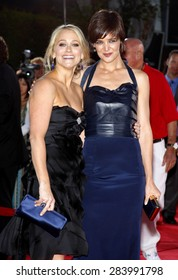 Christine Taylor and Katie Holmes at the Los Angeles premiere of 'Tropic Thunder' held at the Mann Village Theater in Westwood on August 11, 2008.