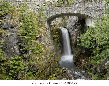 Christine waterfalls in summer,Mt Rainier National Park