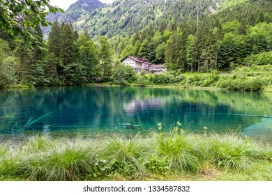Christlessee - Blue lake, pearl of nature at trettach valley near Oberstdorf in Allgau. Bavaria, Germany.