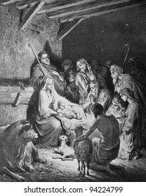 Christmas. 1) Le Sainte Bible: Traduction nouvelle selon la Vulgate par Mm. J.-J. Bourasse et P. Janvier. Tours: Alfred Mame et Fils. 2) 1866 3) France 4) Gustave Doré