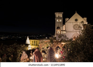 Christmas 2017 in Assisi (Umbria), with a view of San Francesco
