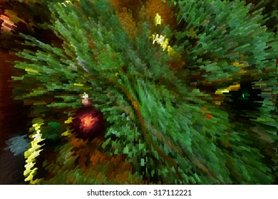 Christmas abstract background in the style of a computer game with blocks