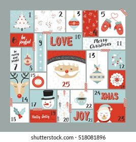 Christmas advent calendar cute holiday decoration, countdown to xmas day with santa claus, reindeer, pine tree and joyful season elements.