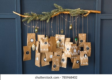 Christmas Advent Calendar hanging on the wall