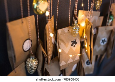 Christmas Advent Calendar hanging on the wall