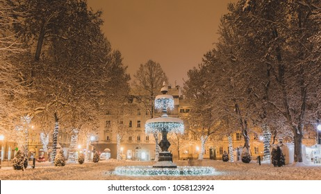 Christmas Advent in Zagreb. Beautiful fountain in city Zagreb during winter.