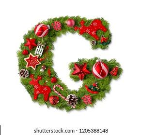 Christmas alphabet letter G isolated on white
