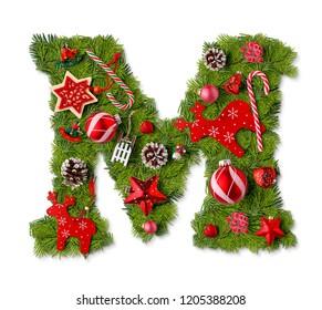 Christmas alphabet letter M isolated on white