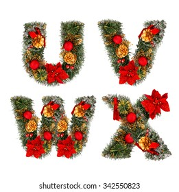 3d Rendering Christmas Letter X Isolated On White Background ...